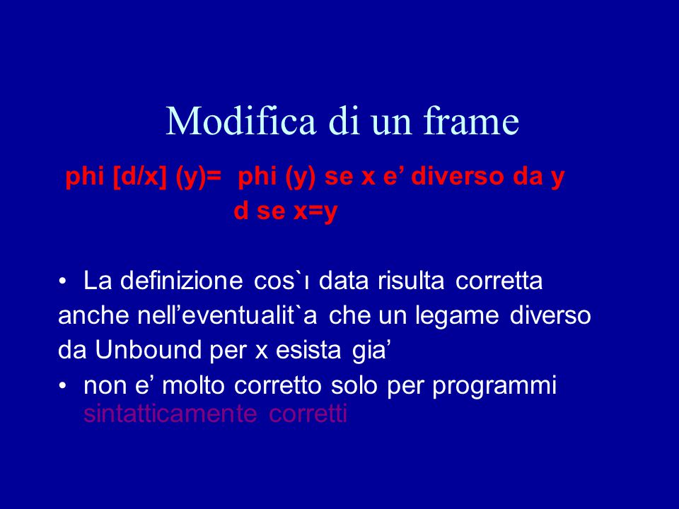Modifica di un frame phi [d/x] (y)= phi (y) se x e' diverso da y